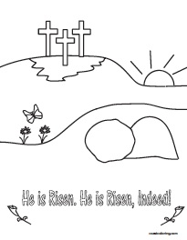 He Is Risen Cross Coloring Pages